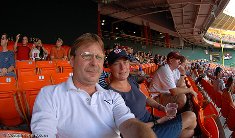 Me & Julie at the Nats Game, RFK Stadium (10.5mm fisheye lens)